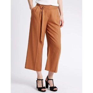 M&S COLLECTION  Wide Leg Belted Cropped Trousers